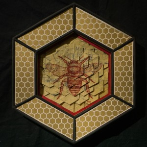 hexagon frame with metallic gold washi tape, 1955 cyanotype hexagon tile fold with red bee illustration